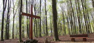 Grabkreuz steht im Wald