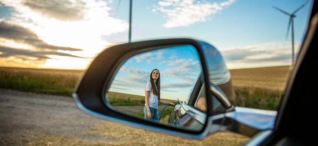 Reflektion im Autospiegel